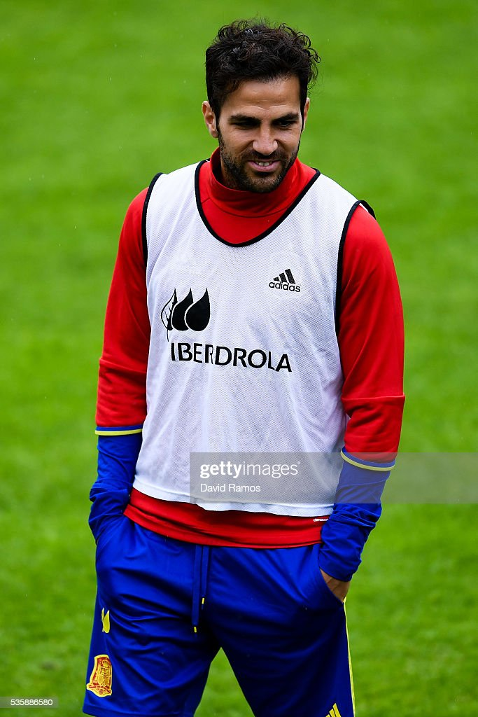 Cesc Fabregas of Spain looks on during a training session on May 30, 2016 in Schruns, Austria.