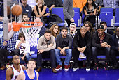 Cesc Fabregas Thierry Henry and Didier Drogba attend the NBA Global Games match between New York Knicks and Milwaukee Bucks at 02 Arena on January 15...