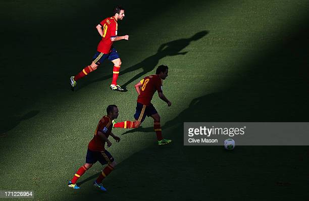 Cesc Fabregas Xavi Hernandez and Andres Iniesta of Spain in action during the FIFA Confederations Cup Brazil 2013 Group B match between Nigeria and...
