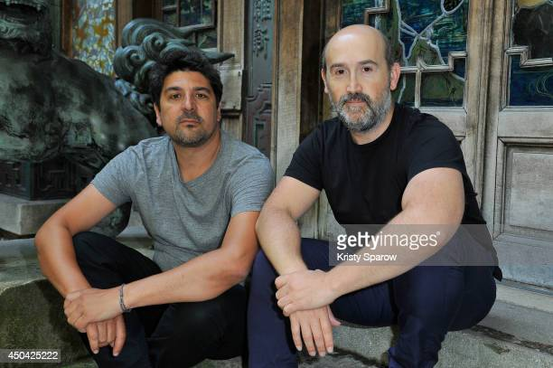 Cesc Gay and Javier Camara pose during the 'Una Pistola En Cada Mano' Paris Photocall at Cinema La Pagode on June 11 2014 in Paris France