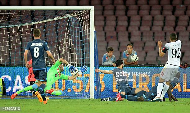 Cesena's player Gregoire Defrel scores the goal of 22 during the Serie A match between SSC Napoli and AC Cesena at Stadio San Paolo on May 18 2015 in...