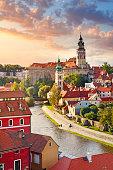 South Bohemian town Cesky Krumlov and Vltava river in sunset light