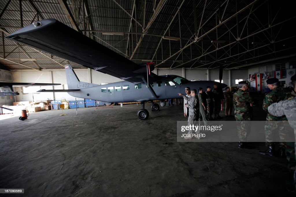 A Cessna 208 Caravan airplane is pictured in a Lebanese Air Force hangar at Beirut Rafic Hariri International airport on November 6, 2013. The Lebanese Air Force received two Cessna planes from the US during a ceremony attended by US Ambassador David Hill.