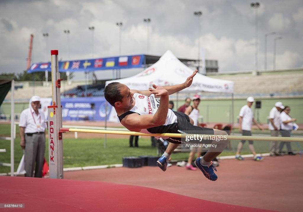 Ceyhan Eyapoglu of Turkey competes in the Men's Heptathlon high jump during the INAS European Athletics Championships at the 19 Mayis Sports Complex Naili Moran Athletics Facilities in Ankara, Turkey on June 30, 2016.