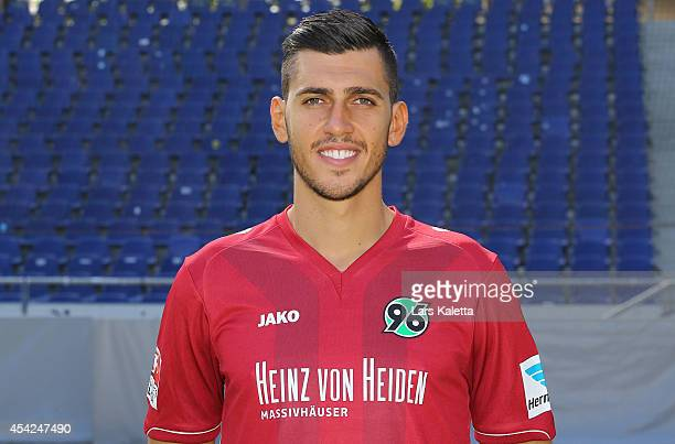 Ceyhun Gulselam poses during the team presentation of Hannover 96 at HDIArena on August 27 2014 in Hanover Germany