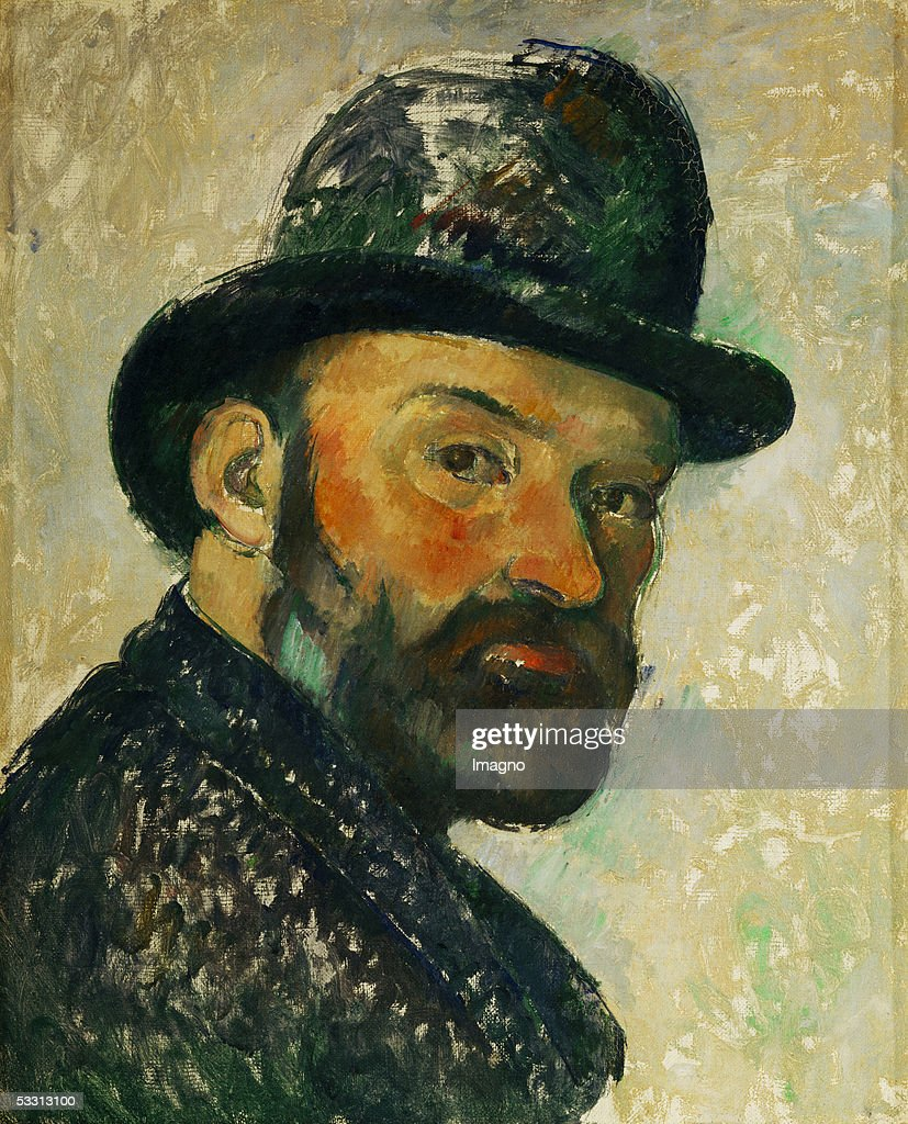 Cezanne au chapeau melon (esquisse) - Self-portrait with bowler hat (sketch), 1885/86. Canvas, 44,5 x 35,5 cm. Um 1885/86. (Photo by Imagno/Getty Images) [Cezanne au chapeau melon-<a gi-track='captionPersonalityLinkClicked' href=/galleries/search?phrase=Paul+Cezanne&family=editorial&specificpeople=99344 ng-click='$event.stopPropagation()'>Paul Cezanne</a> mit Hut, Selbstportrait. Gemaelde 1885/86]