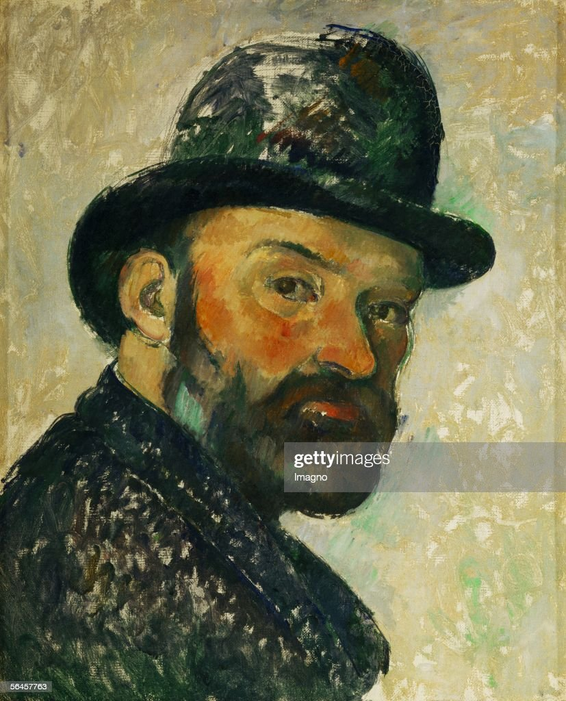 Cezanne au chapeau melon (esquisse) - Self-portrait with bowler hat (sketch), 1885/86. Canvas, 44,5 x 35,5 cm. Um 1885/86. (Photo by Imagno/Getty Images) [Cezanne au chapeau melon-Paul Cezanne mit Hut, Selbstportrait. Gemaelde 1885/86]