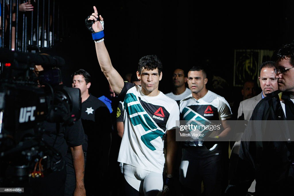 Cezar Ferreira walks to the Octagon to face Jorge Masvidal in their welterweight bout during the Ultimate Fighter Finale inside MGM Grand Garden Arena on July 12, 2015 in Las Vegas, Nevada.