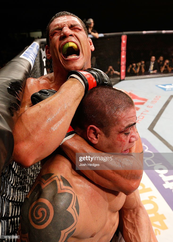 Cezar ''Mutante'' Ferreira attempts a rear choke against Daniel Sarafian in their middleweight bout during the UFC event at Arena Goiania on November 9, 2013 in Goiania, Brazil.
