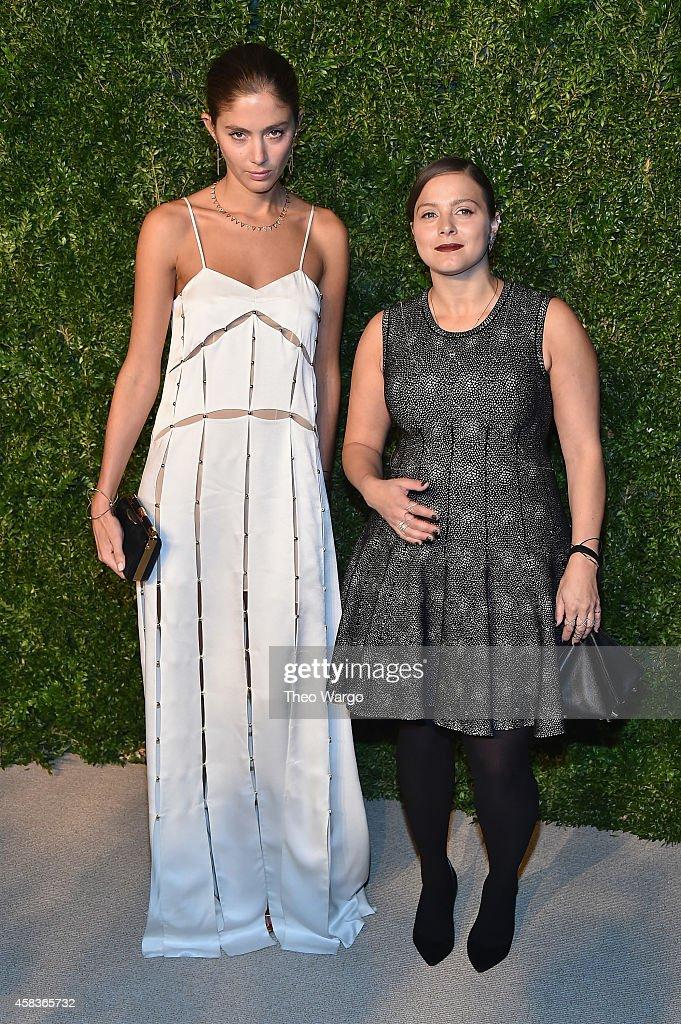 Vogue Fashion Fund finalist and Eva Fehren designer Eva Zuckerman (R) and a model attend the 11th annual CFDA/Vogue Fashion Fund Awards at Spring Studios on November 3, 2014 in New York City.