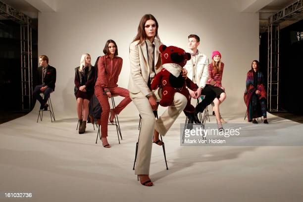 Vogue fashion fund winning design The Elder Statesman is presented at the CFDA/Vogue Fashion Fund fall 2013 presentation during MADE Fashion Week at...