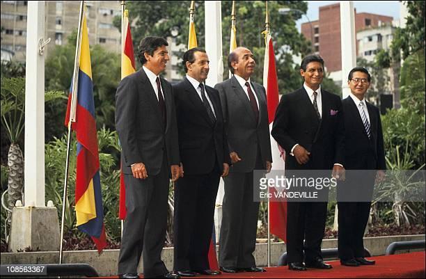 Gaviria RBorja CAndres Perez JPaz Zamora AFujimori in Caracas Venezuela on May 19th 1991