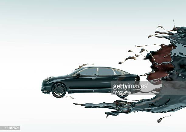 CGi car emerging from crude oil vortex