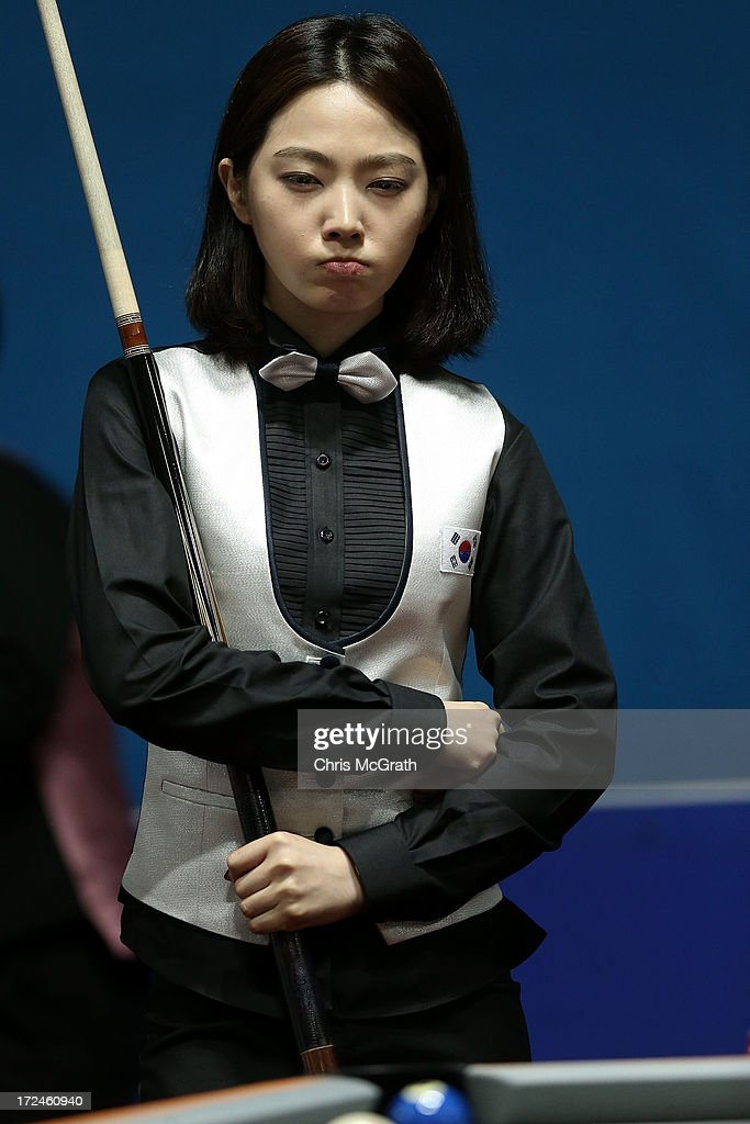 Cha Youram of Korea contemplates her shot against Chitchomnart Siraphat of Thailand during the Billiards, Women's 10 Ball Single Round of 32 Match at Songdo Convensia on day four of the 4th Asian Indoor & Martial Arts Games on July 2, 2013 in Incheon, South Korea.
