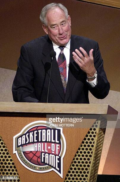 Chaarles 'CM' Newton speaks as he is inducted into the 2000 Basketball Hall of Fame during enshrinement ceremonies at the Springfield Massachusetts...
