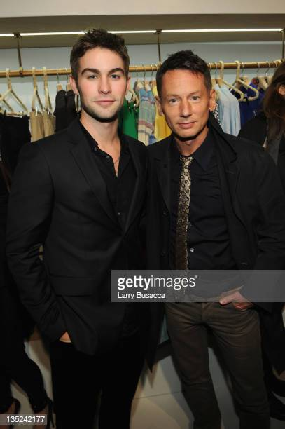 Chace Crawford and editorinchief of GQ Magazine Jim Nelson attend the party to celebrate the launch of the 'GQ at PARK BOND' holiday popup shop on...