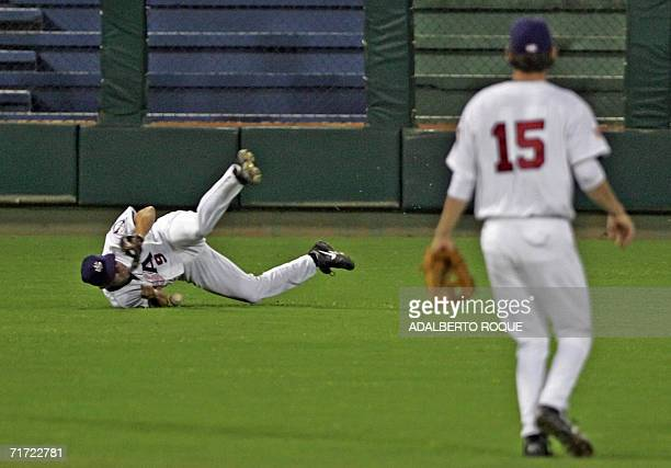 Chad Allen fails to catch the ball during the game against Canada 26 August 2006 for the Americas Olympic Qualifying Tournament of Baseball at the...