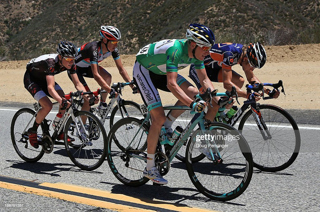 Chad Beyer of the USA riding for Champion System, Liewe Westra of the Netherlands riding for Vacansoleil-DCM, <a gi-track='captionPersonalityLinkClicked' href=/galleries/search?phrase=Andy+Schleck&family=editorial&specificpeople=768445 ng-click='$event.stopPropagation()'>Andy Schleck</a> of Luxembourg riding for Radioshack Leopard Trek and Gavin Mannion of the USA riding for Bontrager work together in the breakaway during Stage Three of the 2013 Amgen Tour of California from Palmdale to Santa Clarita on May 14, 2013 in Santa Clarita, California. Westra defended his green points leader's jersey during the stage and Beyer was awarded the most courageous rider jersey.