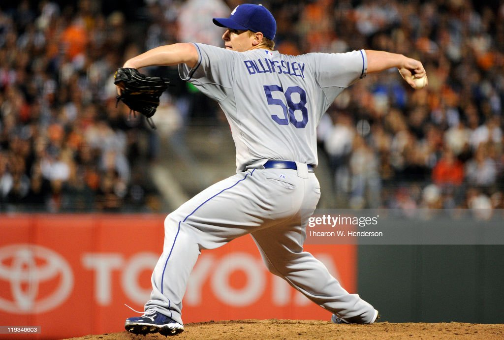 <a gi-track='captionPersonalityLinkClicked' href=/galleries/search?phrase=Chad+Billingsley&family=editorial&specificpeople=533047 ng-click='$event.stopPropagation()'>Chad Billingsley</a> #58 of the Los Angeles Dodgers pitches against the San Francisco Giants in the fourth inning during an MLB baseball game at AT&T Park July 18, 2011 in San Francisco, California.