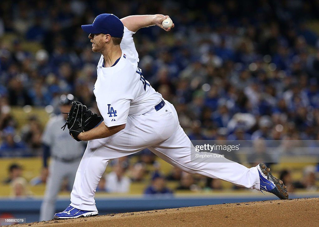 <a gi-track='captionPersonalityLinkClicked' href=/galleries/search?phrase=Chad+Billingsley&family=editorial&specificpeople=533047 ng-click='$event.stopPropagation()'>Chad Billingsley</a> of the Los Angeles Dodgers throws a pitch against the San Diego Padres at Dodger Stadium on April 15, 2013 in Los Angeles, California. All uniformed team members are wearing jersey number 42 in honor of Jackie Robinson Day.