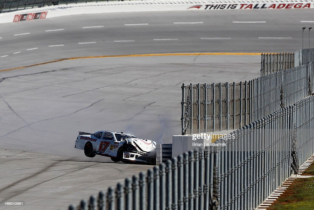 Chad Boat, driver of the #17 Billy Boat Performance Exhaust Chevrolet, hits the wall during the NASCAR Nationwide Series Aaron's 312 at Talladega Superspeedway on May 3, 2014 in Talladega, Alabama.