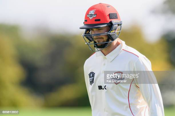Chad Bowes of Canterbury looks dejected after being dismissed by Brent Arnel of Wellington during the Plunket Shield match between Canterbury and...