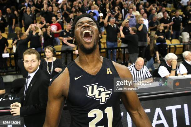 Chad Brown of the UCF Knights screams after winning the 2017 NIT Championship quarterfinal game between Illinois Fighting Illini and the UCF Knights...