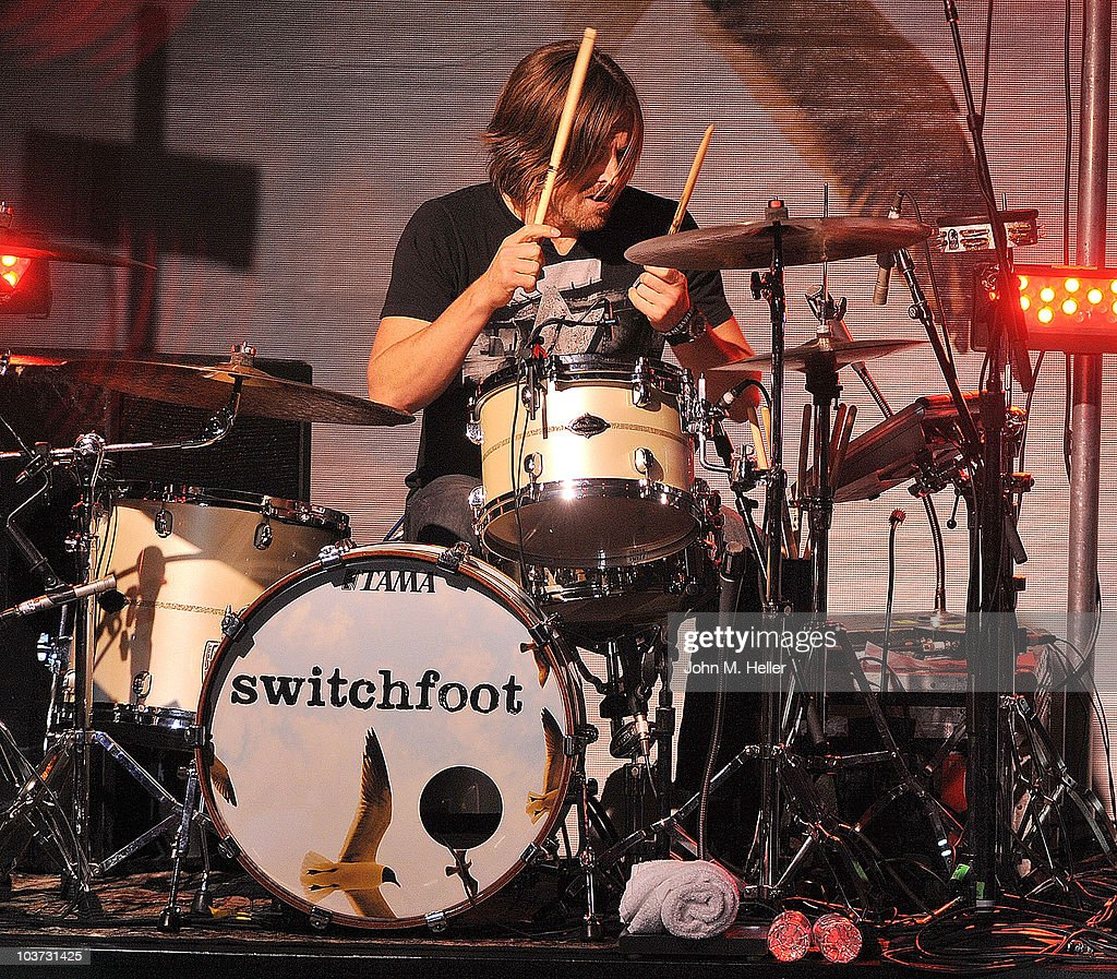 Chad Butler drummer for the group Switchfoot performs at the Greek Theater on August 29, 2010 in Los Angeles, California.