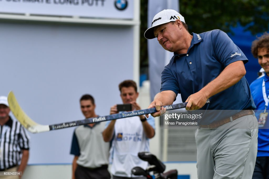 Chad Campbell attempts a shot in hockey during the championship pro-am of the RBC Canadian Open at Glen Abbey Golf Course on July 26, 2017 in Oakville, Ontario, Canada.