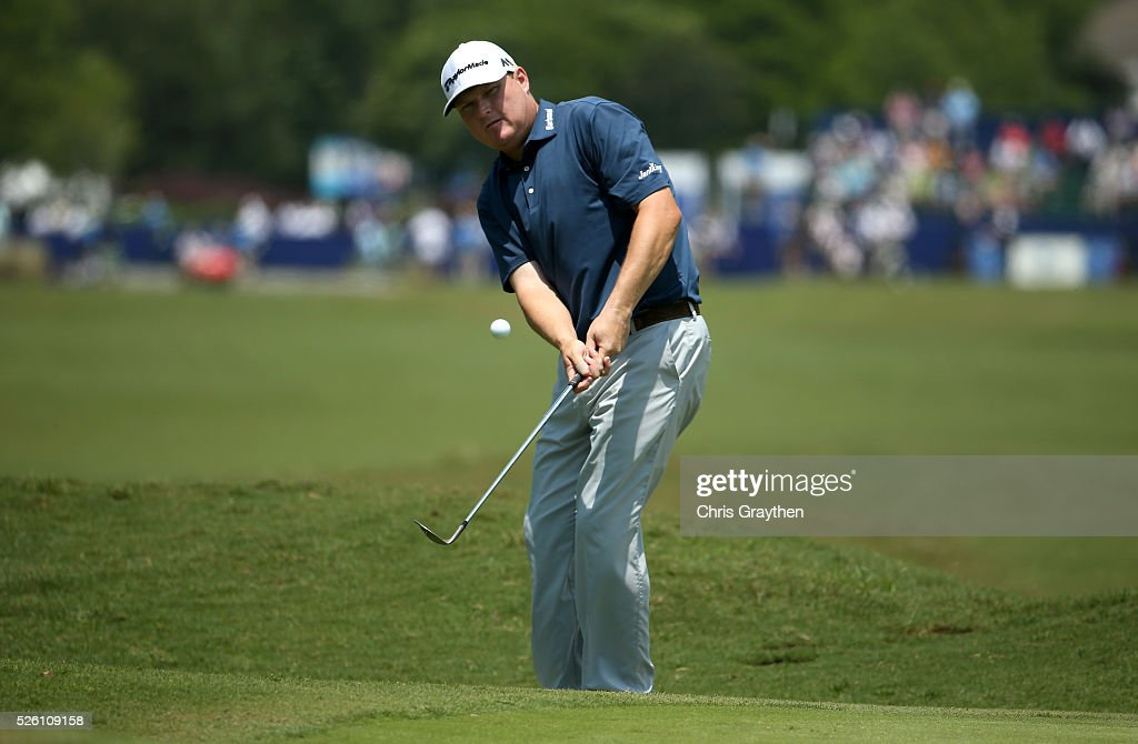 <a gi-track='captionPersonalityLinkClicked' href=/galleries/search?phrase=Chad+Campbell&family=editorial&specificpeople=206975 ng-click='$event.stopPropagation()'>Chad Campbell</a> chips onto the first hole during the second round of the Zurich Classic of New Orleans at TPC Louisiana on April 29, 2016 in Avondale, Louisiana.