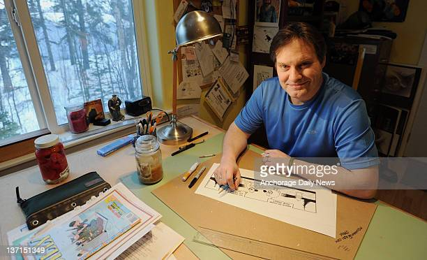 Chad Carpenter draws his 'Tundra' cartoon in his studio at his home in Anchorage Alaska and the strip appears in more than 500 newspapers around the...