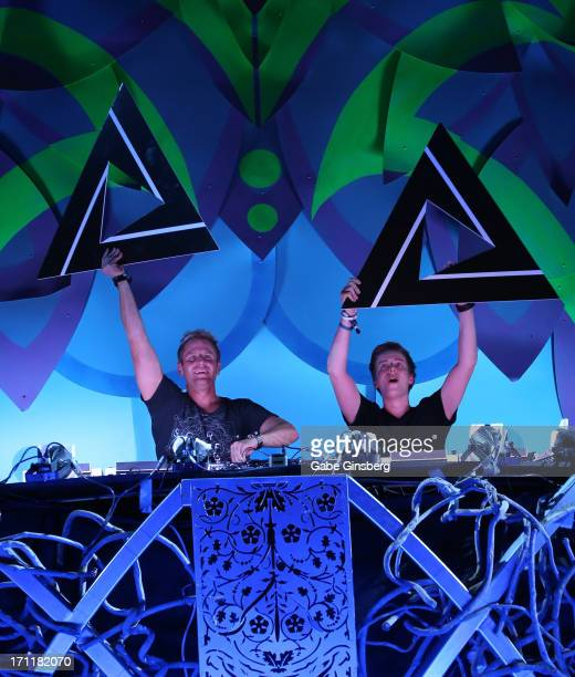 Chad Cisneros and Dave Reed of the trance duo Tritonal perform at the 17th annual Electric Daisy Carnival at Las Vegas Motor Speedway on June 22 2013...