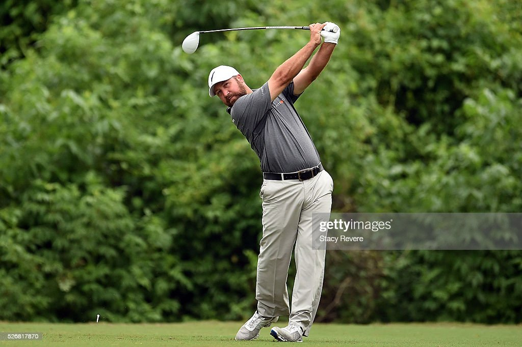 Chad Collins hits his tee shot on the second hole during a continuation of the third round of the Zurich Classic at TPC Louisiana on May 1, 2016 in Avondale, Louisiana.