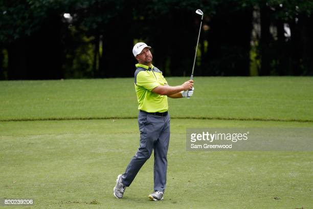 Chad Collins of the United States plays a shot on the 15th hole during the second round of the Barbasol Championship at the Robert Trent Jones Golf...