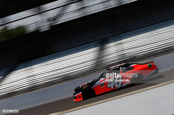 Chad Finchum driver of the Amana Dodge practices for the NASCAR XFINITY Series Lilly Diabetes 250 at Indianapolis Motorspeedway on July 21 2017 in...