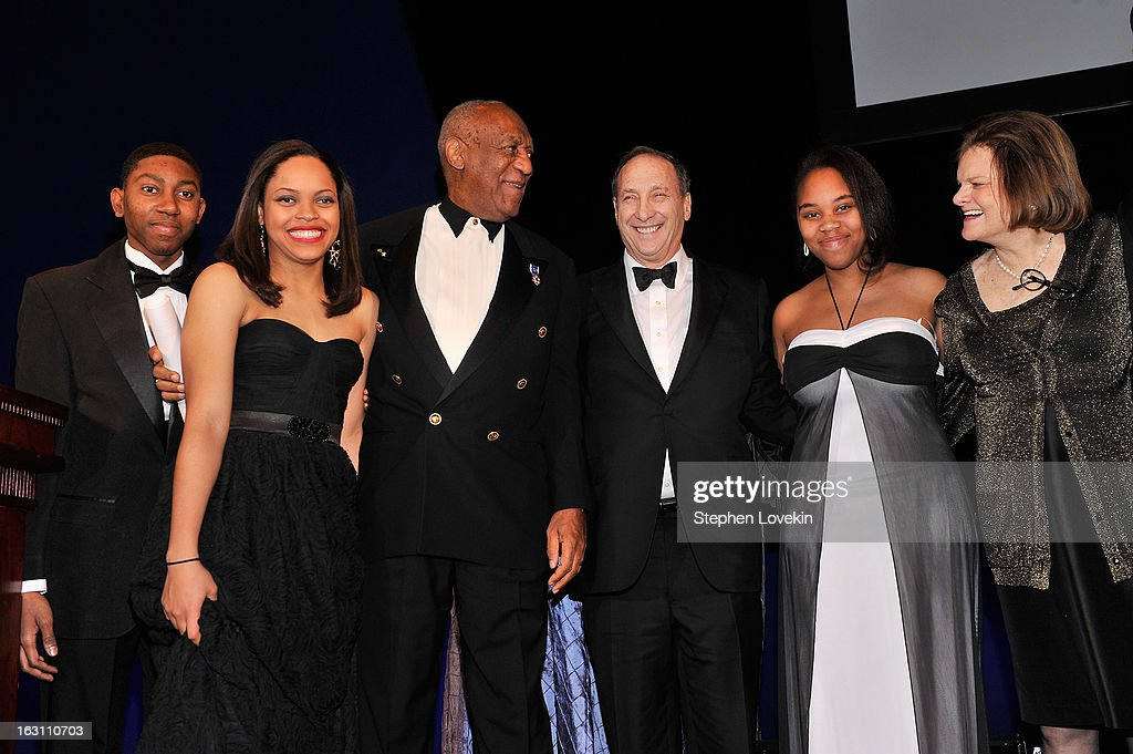 Chad Foster, Danielle Pingue, Bruce Ratner, Dr. Bill Cosby, Mykel Matthews, and Betsy Gotbaum pose onstage at the The Jackie Robinson Foundation Annual Awards' Dinner at the Waldorf Astoria Hotel on March 4, 2013 in New York City.
