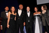 Chad Foster Danielle Pingue Bruce Ratner Dr Bill Cosby Mykel Matthews and Betsy Gotbaum pose onstage at the The Jackie Robinson Foundation Annual...