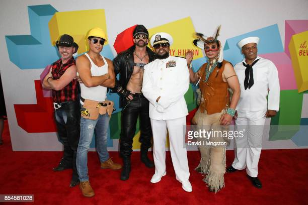 Chad Freeman James Kwong JJ Lippold Victor Willis Angel Morales and Sonny Earl of Village People attend the 7th Annual 2017 Streamy Awards at The...