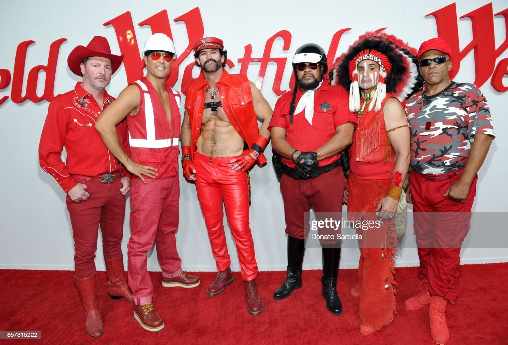 Chad Freeman, James Kwong, J.J. Lippold, Victor Willis, Angel Morales and Sonny Earl of music group Village People attend the Westfield Century City Reopening Celebration on October 3, 2017 in Century City, California.