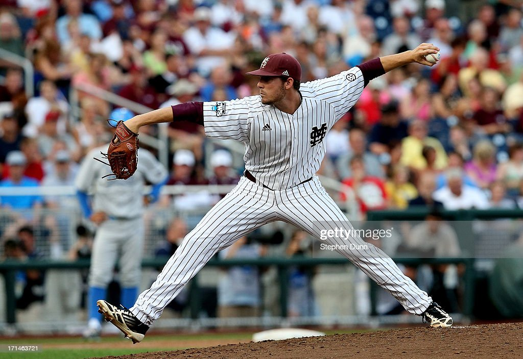 Chad Girodo #18 of the Mississippi State Bulldogs throws a pitch against the UCLA Bruins during game one of the College World Series Finals on June 24, 2013 at TD Ameritrade Park in Omaha, Nebraska. UCLA won 3-1.
