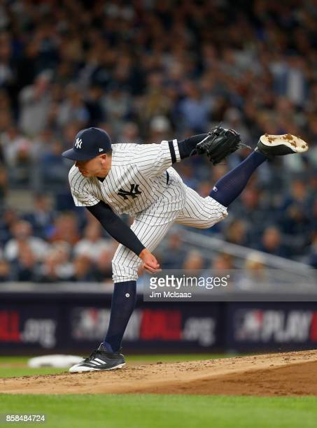 Chad Green of the New York Yankees in action against the Minnesota Twins in the American League Wild Card Game at Yankee Stadium on October 3 2017 in...