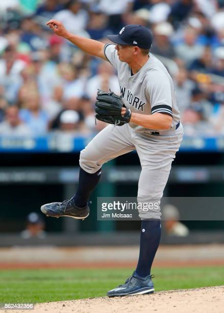 Chad Green of the New York Yankees in action against the Tampa Bay Rays at Citi Field on September 13 2017 in the Flushing neighborhood of the Queens...