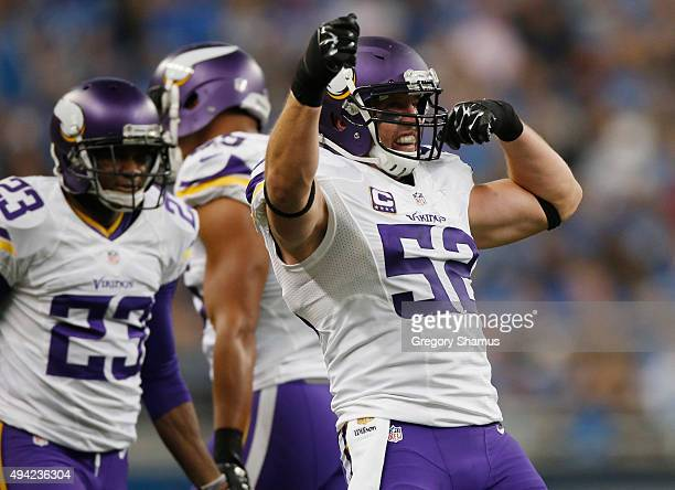 Chad Greenway of the Minnesota Vikings celebrates a teammates third quarter sack while playing the Detroit Lions at Ford Field on October 25 2015 in...
