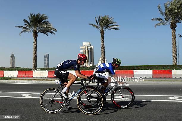Chad Haga of the United States and Matti Manninen of Finland ride during the Elite Men's Road Race on day eight of the UCI Road World Championships...