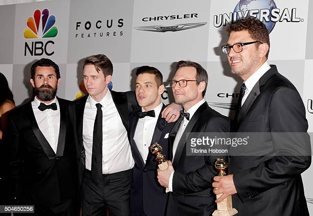 Chad Hamilton Martin Wallstrom Rami Malek Christian Slater and Sam Esmail attend NBCUniversal's 73rd Annual Golden Globes After Party at The Beverly...