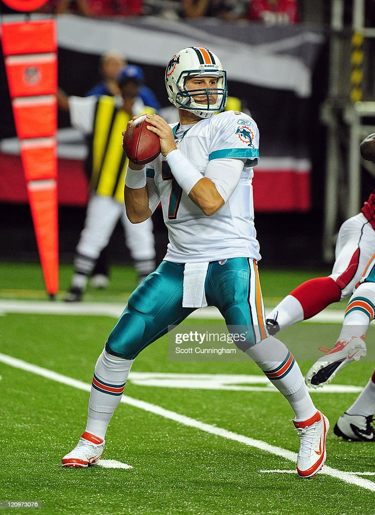 <a gi-track='captionPersonalityLinkClicked' href=/galleries/search?phrase=Chad+Henne&family=editorial&specificpeople=216361 ng-click='$event.stopPropagation()'>Chad Henne</a> #7 of the Miami Dolphins passes against the Atlanta Falcons during a preseason game at the Georgia Dome on August 12, 2011 in Atlanta, Georgia.