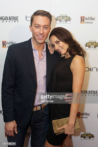 Chad Hodge and Laura Benanti attend the Michigan Avenue Magazine September cover party hosted by Emmy Rossum presented by BING at Harry Caray's...