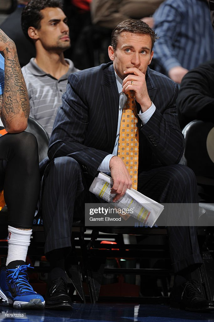 Chad Iske of the Denver Nuggets sits on the bench during the game against the Phoenix Suns on April 17, 2013 at the Pepsi Center in Denver, Colorado.