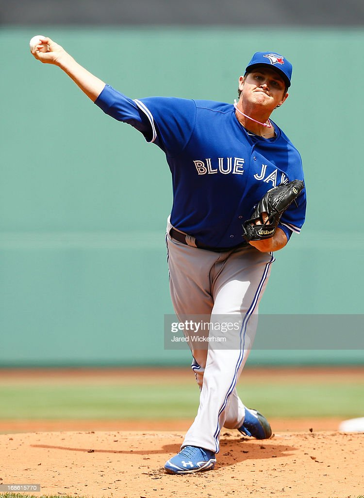 Chad Jenkins #64 of the Toronto Blue Jays pitches against the Boston Red Sox during the game on May 12, 2013 at Fenway Park in Boston, Massachusetts.