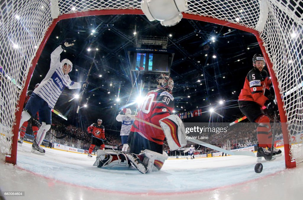 Chad Johnson of Canada reacts after a goal of Damien Fleury (not pictured) during the 2017 IIHF Ice Hockey World Championship game between Canada and France at AccorHotels Arena on May 11, 2017 in Paris, France.